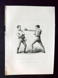Badminton Library 1893 Antique Boxing Print. Retreat In Good Order